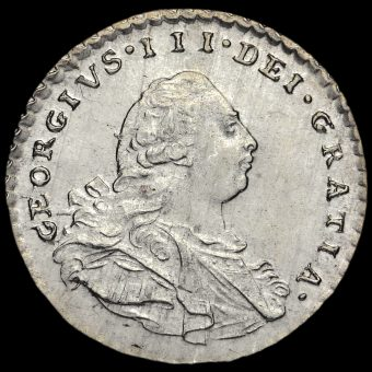 1800 George III Early Milled Silver Maundy Penny Obverse