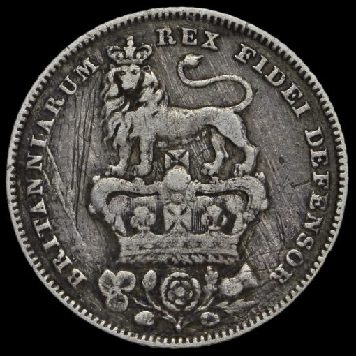 1826 George IV Bare Head Milled Silver Sixpence Reverse