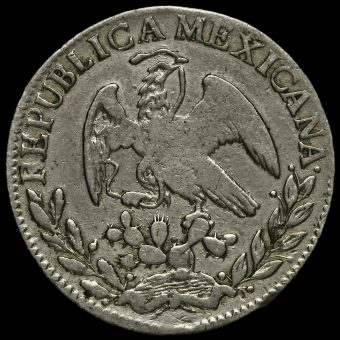 Mexico 1827 Silver 2 Reales Coin Obverse