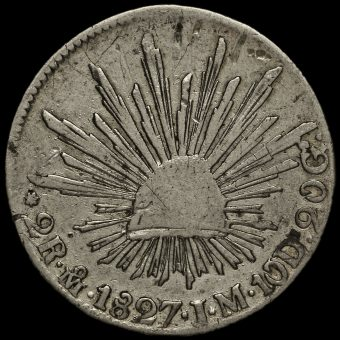 Mexico 1827 Silver 2 Reales Coin Reverse