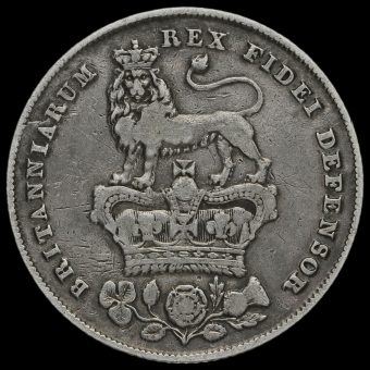 1827 George IV Milled Silver Shilling Reverse