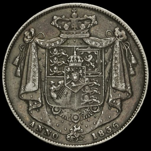 1836 William IV Milled Silver Half Crown Reverse