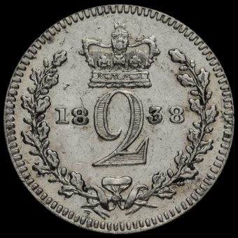 1838 Queen Victoria Young Head Silver Maundy Twopence Reverse