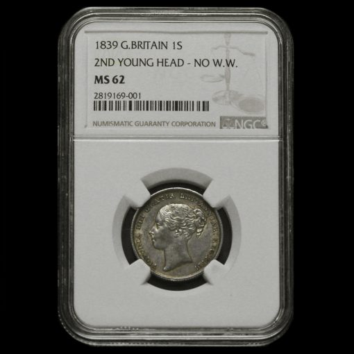 1839 Queen Victoria Young Head Silver Shilling MS 62