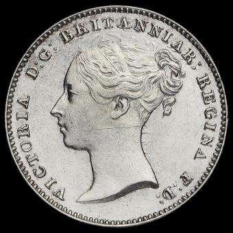 1843 Queen Victoria Young Head Silver Maundy Threepence Obverse