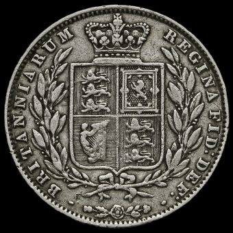 1850 Queen Victoria Young Head Silver Half Crown Reverse