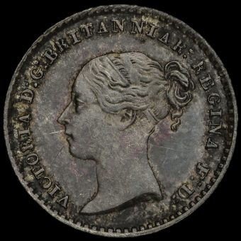 1855 Queen Victoria Young Head Silver Maundy Penny Obverse