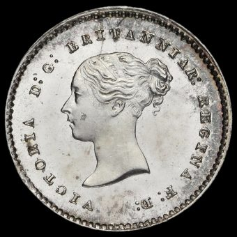 1856 Queen Victoria Young Head Silver Maundy Twopence Obverse