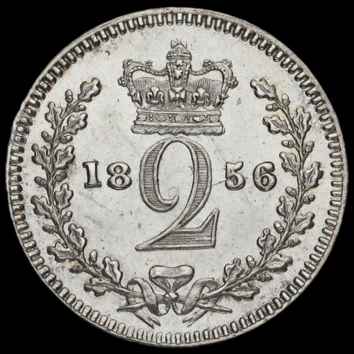 1856 Queen Victoria Young Head Silver Maundy Twopence Reverse