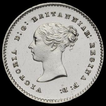 1858 Queen Victoria Young Head Silver Maundy Twopence Obverse