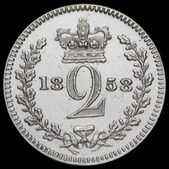 1858 Queen Victoria Young Head Silver Maundy Twopence Reverse