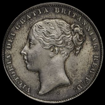 1859 Queen Victoria Young Head Silver Shilling Obverse