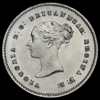 1861 Queen Victoria Young Head Silver Maundy Twopence Obverse