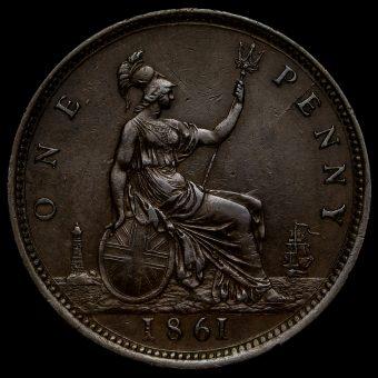 1861 Queen Victoria Bun Head Penny Reverse