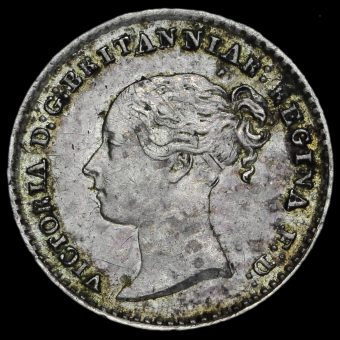 1862 Queen Victoria Young Head Silver Maundy Penny Obverse