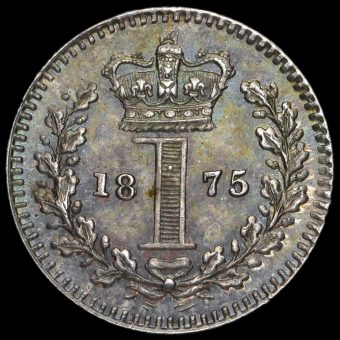 1875 Queen Victoria Young Head Silver Maundy Penny Reverse