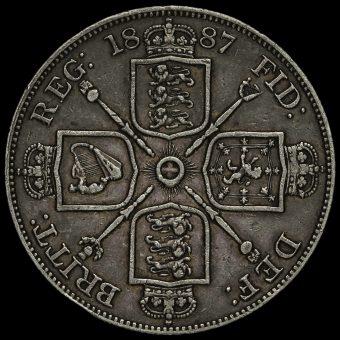 1887 Queen Victoria Jubilee Head Silver Double Florin Reverse