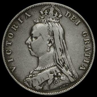 1889 Queen Victoria Jubilee HeadSilver Half Crown Obverse