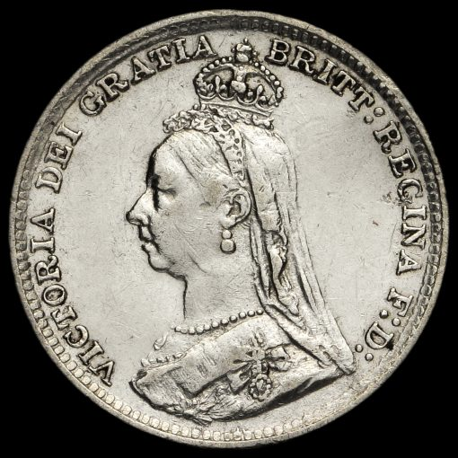 1891 Queen Victoria Jubilee Head Silver Threepence Obverse