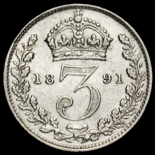 1891 Queen Victoria Jubilee Head Silver Threepence Reverse