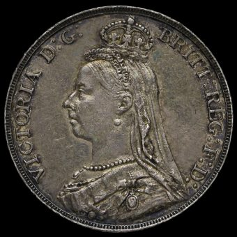 1891 Queen Victoria Jubilee Head Silver Crown Obverse