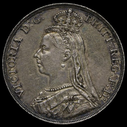 1891 Queen Victoria Jubilee Head Silver Crown Obverse