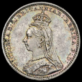 1891 Queen Victoria Jubilee Head Silver Maundy Twopence Obverse