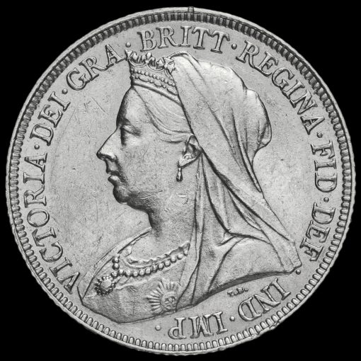 1894 Queen Victoria Veiled Head Silver Shilling Obverse