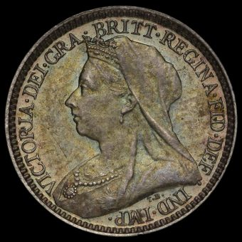 1895 Queen Victoria Veiled Head Silver Maundy Twopence Obverse