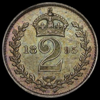 1895 Queen Victoria Veiled Head Silver Maundy Twopence Reverse