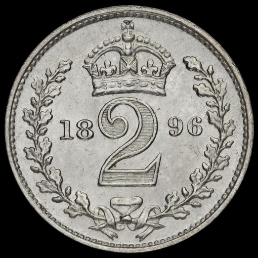 1896 Queen Victoria Veiled Head Silver Maundy Twopence Reverse