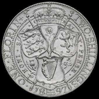 1897 Queen Victoria Veiled Head Silver Florin Reverse
