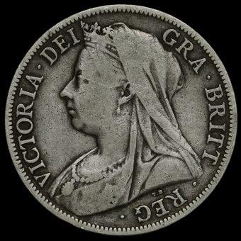 1897 Queen Victoria Veiled Head Silver Half Crown Obverse