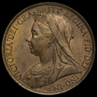 1897 Queen Victoria Veiled Head Penny Obverse