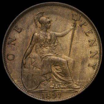 1897 Queen Victoria Veiled Head Penny Reverse