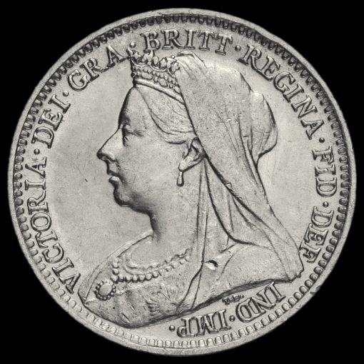 1899 Queen Victoria Veiled Head Silver Threepence Obverse