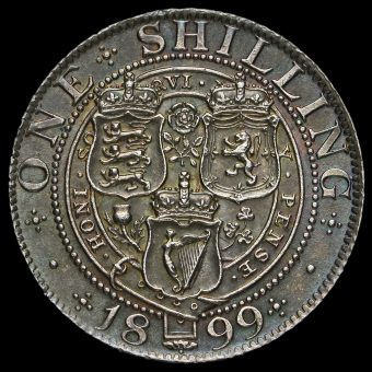 1899 Queen Victoria Veiled Head Silver Shilling Rweverse