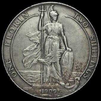 1909 Edward VII Silver Florin Reverse