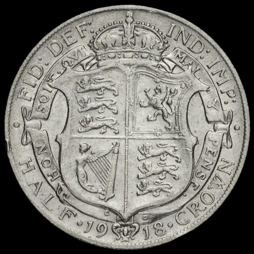 1918 George V Silver Half Crown Reverse