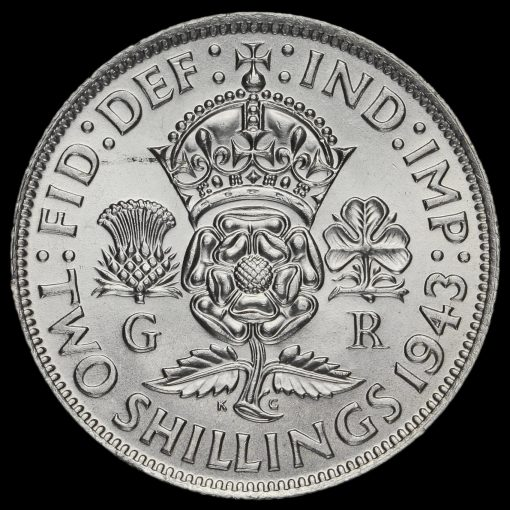 1943George VI Silver Two Shilling Coin / Florin Reverse