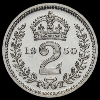 1950 George VI Silver Maundy Twopence Reverse