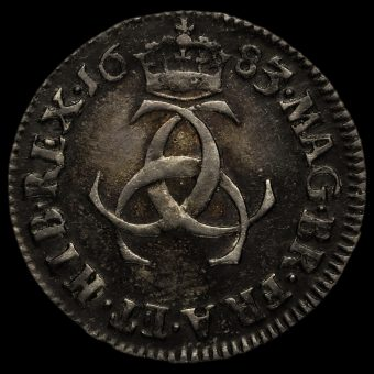 1683 Charles II Early Milled Silver Maundy Threepence Reverse