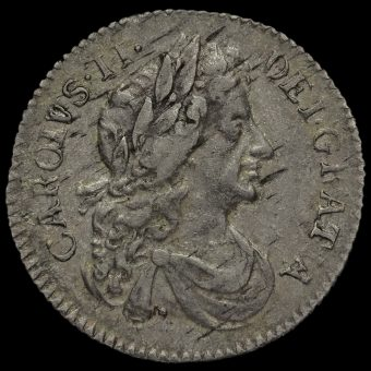 1684 Charles II Early Milled Silver Sixpence Obverse