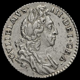 1697 William III Early Milled Silver Sixpence Obverse