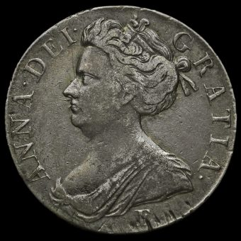 1707 Queen Anne Early Milled Silver Crown Obverse