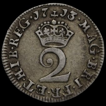 1713 Queen Anne Early Milled Silver Maundy Twopence Reverse
