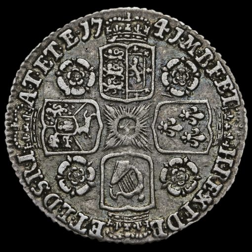 1741 George II Early Milled Silver Sixpence Reverse