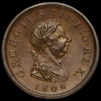 1806 George III Early Milled Copper Penny Obverse