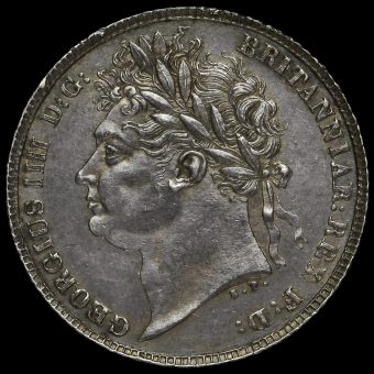 1821 George IV Milled Silver Sixpence Obverse