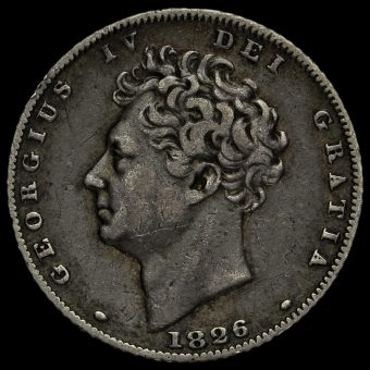 1826 George IV Bare Head Milled Silver Sixpence Obverse